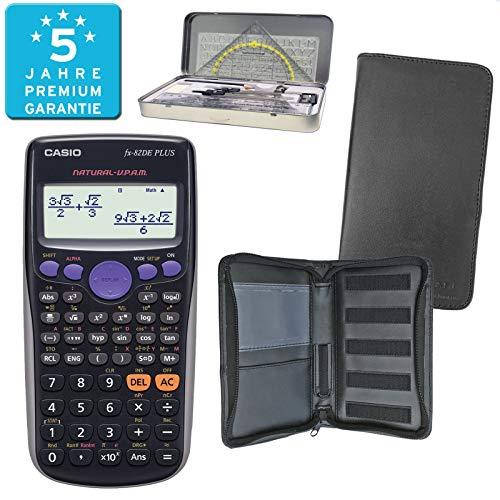 Casio FX-82DE Plus (PREMIUMpaket) + Erweiterte Garantie + Schutztasche + Geometrieset : calcumio Artikel Set