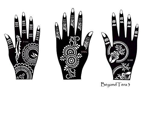 Henna Tattoo sjabloon 3 Sheet voor handen Terra