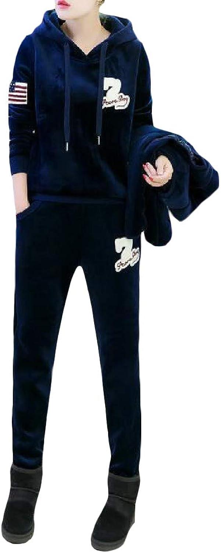 XiaoTianXinWomen XTX Women Sportwear Vest 3 PCS Hoodie Velour Pants Tracksuit Set