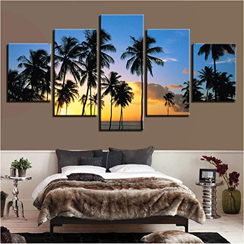 5 Panels Prints Pictures Paintings on Canvas Palm Tree Wall Art for Living Room Bedroom Home Decorations Large Size Modern Stretched and Framed Canvas Print Landscape Artwork-60 Wx32 H No Frame