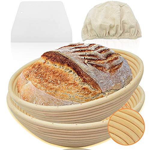 Walfos 9 inch Round Banneton Proofing Basket Set of 2- French Style Sourdough Bread Basket, 100% Natural Rattan, for Home and Professional Bakers - Dough Scraper & Linen Cloth Liner Included