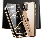 JCGOOD iPhone 12 Pro ケース iPhone12 ケース 前後 透明 両面 強化 ガラス アイフォン12/12pro カバー マグネット式 アルミ バンパー ケース 360°全面保護 軽量 薄型 擦り傷防止 携帯 スマホケース ワイヤレス充電対応 (iPhone12/iPhone12pro, ゴールド)