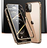 iPhone 12 Case,iPhone 12 Pro Case,360° Full Body,Front and Back of Clear Touchable HD Tempered Glass,with Screen Protector Magnetic Adsorption Metal Frame Cover Thin Lightweight Ultra Fit 12 6.1' Gold