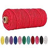 Cuerda de macramé de algodón de 3 mm x 100 m, para macramé, para colgar plantas, manualidades, tejer, decoración (rojo)