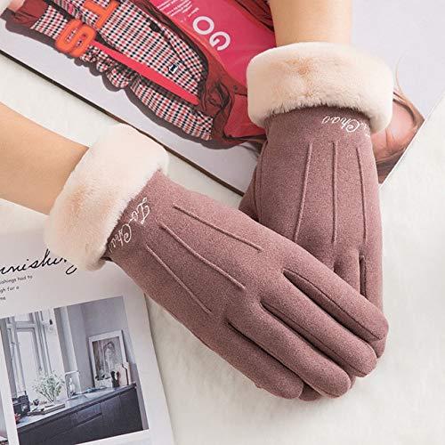 New Winter Female Lace Warmer Kaschmir DREI Rippen Niedliche Bärenhandschuhe Doppelte Dicke Plüsch Handgelenk Frauen Touchscreen Fahrhandschuhe-C63 A Bean Color