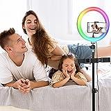 Anillo de luz RGB de 10 pulgadas con soporte, soporte de trípode y soporte para teléfono para stream/YouTube/maquillaje/fotografía, mando a distancia inalámbrico, 3 modos de luz y 9 niveles de brillo