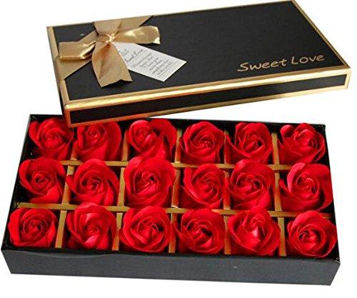 Crazy Shop 18pcs rose Blume Badeduft Seife Blütenblätter für Home Party Hochzeit Dekoration GESCHENK rot