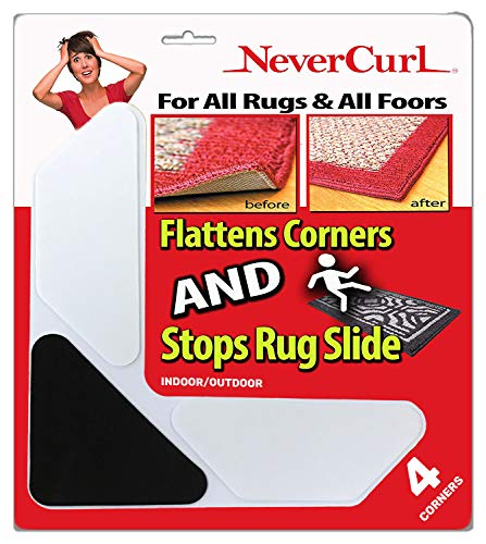 Grips The Rug with Nevercurl Includes 4'V' Shape Corners with EVA Foam Tip for Easy Rug Lifting - Patented - Instantly Flattens Rug Corners and Stops Rug Slipping - Gripper uses Renewable Sticky Gel