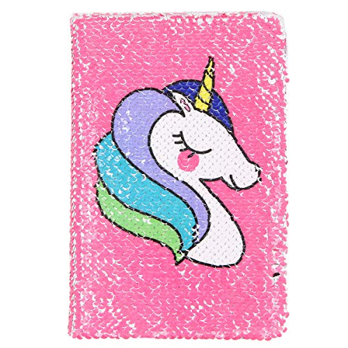 Unicorn Notebook,New A5 Notebook Color Reversible Sequin Unicorn Diary Notebook Magic Sequin Journal Rainbow Notebook DIY Painting Magic Daily Journal Notebook for Kids (Rose Red)