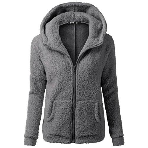 TUDUZ Damen Winter Fleece Kapuzen-Pullover Hoodie Sweatshirt Sweat-Jacke Thermo Gefüttert (S-5XL) (S, Dunkelgrau)