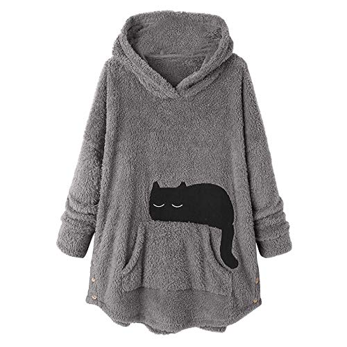 ReooLy Mujeres Tops Botón con Capucha Pullover Suéter Suelto Tallas Grandes Espesar Blusa de Felpa(Yo-Gris,XXXL)