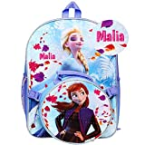 Personalized Licensed Disney's Frozen Character Backpack - 16 Inch (Frozen 2 Backpack with Round Lunch Bag - Change is in the Air)