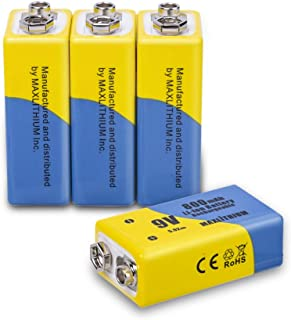 9v Batteries Rechargeable Li-ion 800mAh 4 Packs