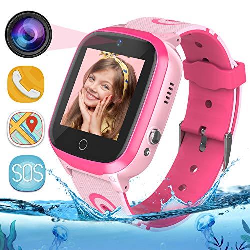 GPS Smartwatch para Niños - WiFi + GPS + LBS Tracker Phone Smart Watch con Contador de Pasos Geo Fence Cámara Calling SOS Chat de Voz Juego para 3-12 Niños Compatible iOS/Android