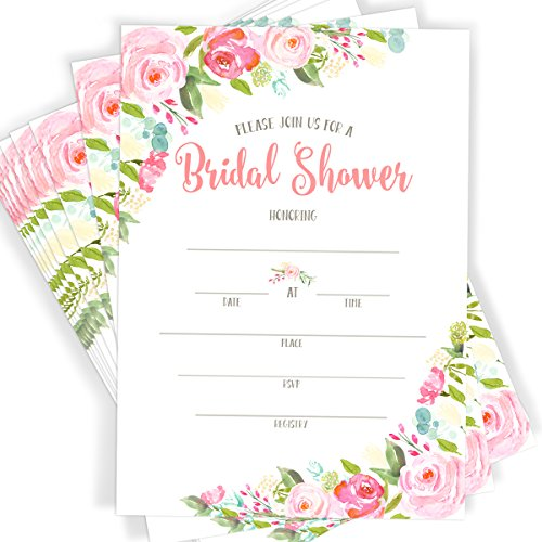 40 Floral Watercolor Bridal Shower Invitations | 40 Invitations with Envelopes
