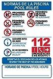 Schild aus robustem PVC - Normen des Pools - Pool Rollen - Warnschild - ideal zum Aufhängen und Hinweisen (englischsprachig), 10