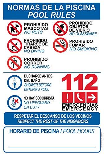 Robustes PVC-Schild für Pool – Warnschild – ideal zum Aufhängen und Warnen (Spanisch, Englisch)