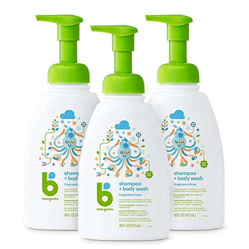 Babyganics Baby Shampoo + Body Wash Pump Bottle, Fragrance Free, Packaging May Vary,16 Fl Oz (Pack of 3)