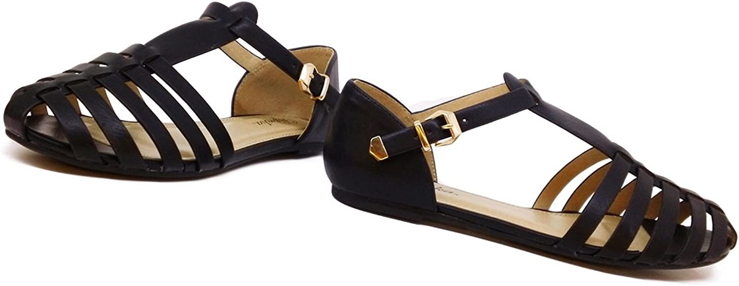 PAPRIKA Women Leatherette Almond Toe T-Strap Fisherman Flat Sandal