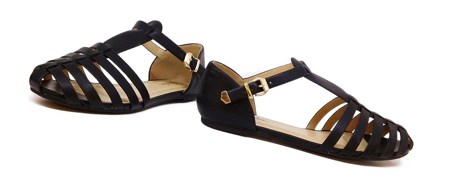 PAPRIKA Women Leatherette Almond Toe T-Strap Fisherman Flat Sandal