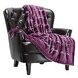 Chanasya Best Friends Forever Gift Throw Blanket - Sherpa Microfiber Strength Love Joy Cherish Fun Laughter Thoughtful Gift Throw - for Women Men Birthday BFF Besties (50x65 Inches)- Aubergine Blanket