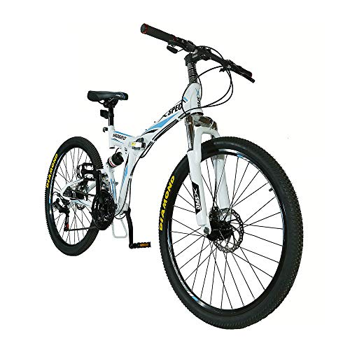 "Xspec 26"" 21-Speed Folding Mountain Bike for Adult, Shimano White, 26"""