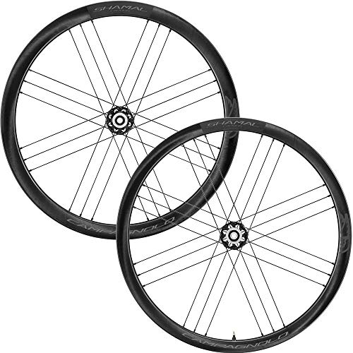 Campagnolo Shamal Carbon Disc Brake bicicelta, Ruedas de Bicicleta, Black Shimano, Pair