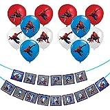 Qemsele Enfants Ballons de Bannières, 20pcs Dessin animé Ballons & 1 Bannière Joyeux Anniversaire Fournitures de décoration de fête pour Anniversaire thème Soirée, Carnaval et Cadeaux (Spiderman)