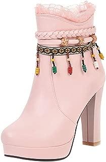 ELEEMEE Women High Heels Short Boots Zip Ankle Boots