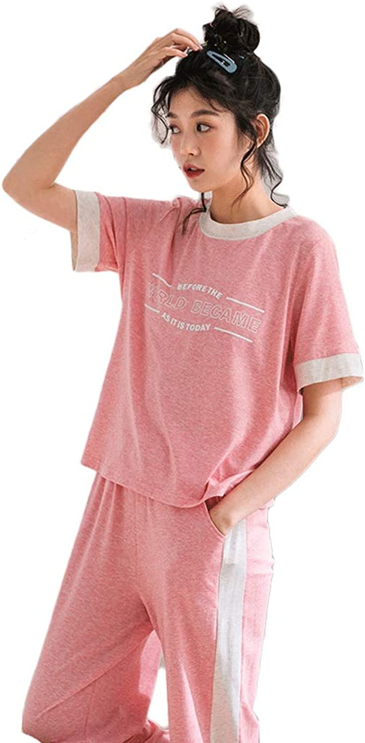 Summer Cotton Pajamas Simple Casual Ladies ShortSleeved Loose Sportswear Home Service Trousers Suit Thin Section (color   Pink, Size   S)