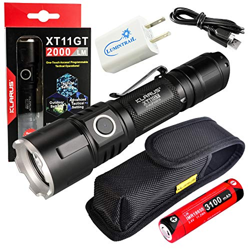 Klarus XT11GT Rechargeable Flashlight 2000 Lumen LED Tactical Light Bundle with Lumintrail USB Wall Adapter