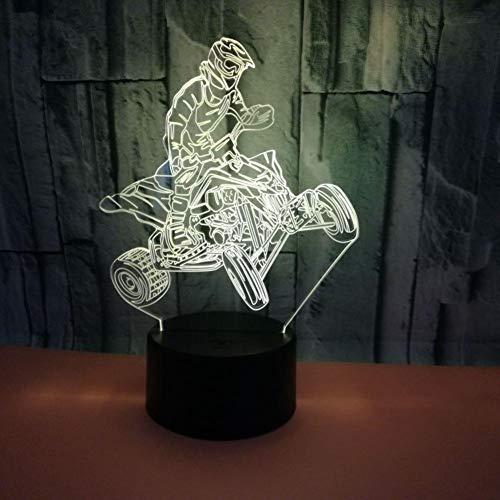 Leeypltm Motorfiets Prestaties 3D illusie lamp LED nachtlicht 7 kleuren wijzigen, Touch Control, USB-oplader, als decoratieve woonkamer slaapkamer, en verjaardag cadeau