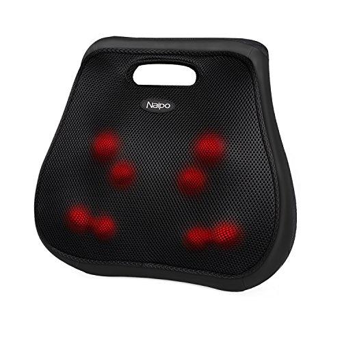 Naipo Rücken Massagegerät Shiatsu Massagekissen mit Infrarot Wärmefunktion Massage und Acht Massageköpfe für Oberer Untere Rücken Taille Schmerzlinderung im Auto Büro Zuhause