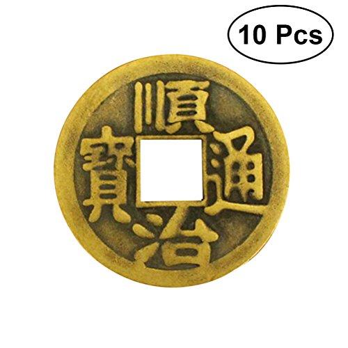 WINOMO 10 monedas chinas de adivinación Feng Shui I Ching para la suerte y el éxito de la prosperidad