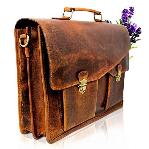 Lederen aktetas bruin I handgemaakte schoudertas voor dames en heren I echt leder schoudertas geschikt als laptoptas tot 15,6 inch I leren tas van hoogwaardig buffelleer I PB043 Corno d'Oro