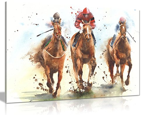 Horse Racing Watercolour Canvas Wall Art Picture Print (36x24)