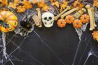 Qinunipoto 背景布 ハロウィン happy halloween 写真の背景 かぼちゃ 骷髅 骨 カエデの葉 くも 背景幕 写真背景 人物撮影 撮影用 cosplay背景 スタジオのプロ背景幕 写真ブース撮影 ビニール 1.5x1m