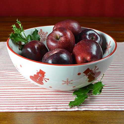 Euro Ceramica Winterfest Christmas Collection, 120oz Fruit Bowl for Serving & Decorations, Red/White