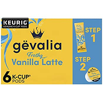 Gevalia Vanilla Latte Espresso Coffee with Froth Packets K-Cup Pods 6 Count