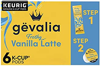 Gevalia Frothy 2-Step Vanilla Latte Espresso K-Cup Coffee Pods & Froth Packets Kit (6 ct Box)