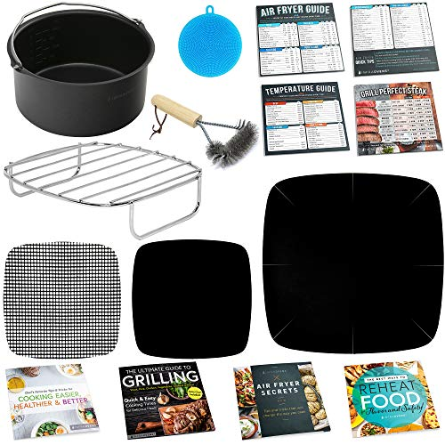 Air Fryer Accessories Compatible with Costzon, Cosori, Chefman, Dash, Maxi-Matic, NuWave, Philips, Secura, Enklov, Gourmia, Comfee +More | Complete Set of Airfryer Rack, Cake Pan, Cooking Guides.