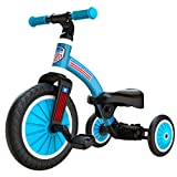 2020 Upgraded 2 in 1 Kids Tricycle for Aged 2-4 Kids, Easy Assembly Tribike Toddler Balance Bike for Boys,Girls,Babies, Convertible 2/3 Wheel Toddler Trike Bicycle for Child with Removable Pedals Blue