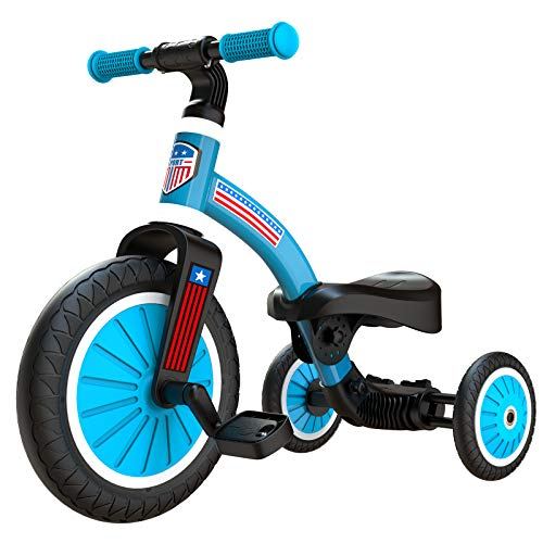 2020 Upgraded 2 in 1 Kids Tricycle for Aged 24 Kids Easy Assembly Tribike Toddler Balance Bike for BoysGirlsBabies Convertible 2/3 Wheel Toddler Trike Bicycle for Child with Removable Pedals Blue