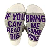 QR-ONCES Calcetines divertidos con texto en inglés 'If You Can Read This Bring Me Wine