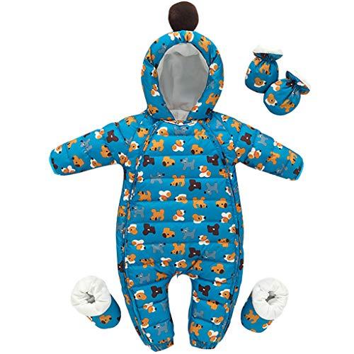 Baby Schneeanzug Jungen Mädchen Winter Strampler Jumpsuit Overall mit Reißverschlüsse Daunenjacket mit Kapuze Warme Outfit 12-18 Monate