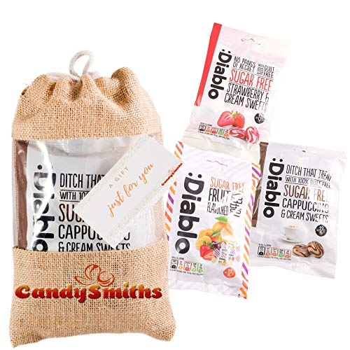 Diablo Zuckerfreier Süßigkeitenkorb, 3 reichhaltige Kombinationen von Diablo Cappucino, Diablo Erdbeere und Sahne Diablo Toffee zuckerfreie Süßigkeiten in Jutebeutel | Diabetiker-Süßigkeiten