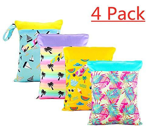 '4 poches Pack Baby sec et humide serviette couche étanche réutilisable avec deux poches à fermeture éclair, 11 \