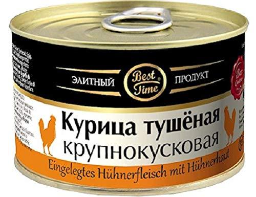 Eingelegte Hühnerfleisch mit Hühnerhaut Курица тушёная крупнокусковая