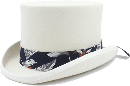 bienvenido a elegir HUILIAN HATS Sombrero de de de Moda, Sombrero de Copa DIY Steampunk con Patrón azul Sombrero de Sombrerero Loco para mujer Dale Estilo a tu Vida (Color   blanco, Talla   55CM)  marca