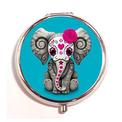 Pink Day of the Dead Sugar Skull Baby Elephant Custom Design Round Pill Box Medicine Tablet Holder Organizer Dispenser Case